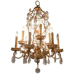 Neoclassical French Chandelier by Maison Bagues with Crystals and Gold Plating