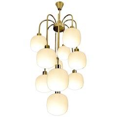 Large Cascade Italian Glass and Brass Chandelier, 1960s Modernist Pendant Lamp