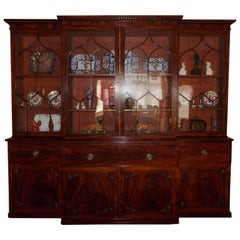 English Chippendale Mahogany Breakfront With Secretary, Circa 1790