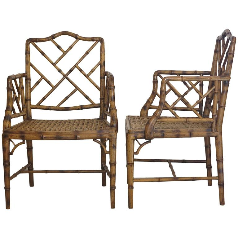 Two chinese chippendale faux bamboo arm chairs s at