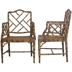 Two Chinese Chippendale Faux Bamboo Arm chairs 1980s