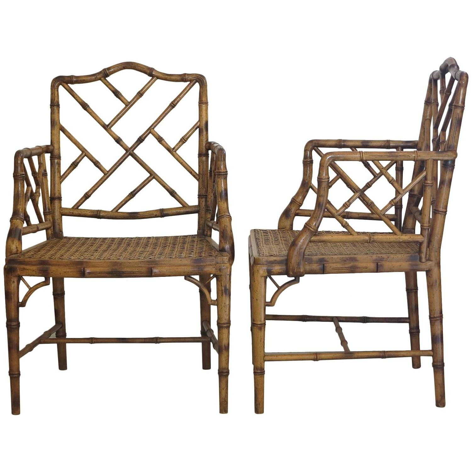 Two Chinese Chippendale Faux Bamboo Arm chairs 1980s at 1stdibs
