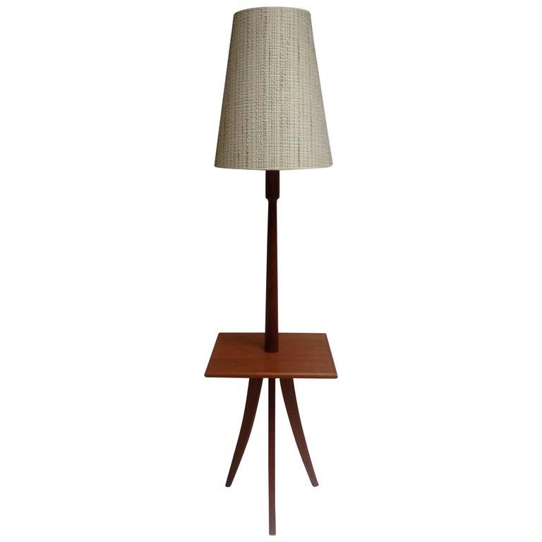 mid century modern three legged teak floor lamp with table at 1stdibs. Black Bedroom Furniture Sets. Home Design Ideas
