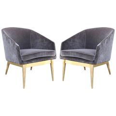 Luxe Pair of Gold Leaf and Grey Velvet Barrel Back Lounge Chairs