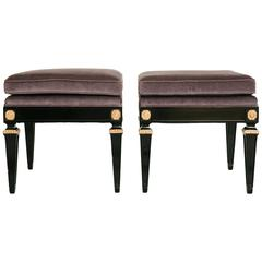 Pair of Louis XVI Style Black Tabourets