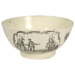 Rare 18th Century English Cream ware Black Transferware Bowl