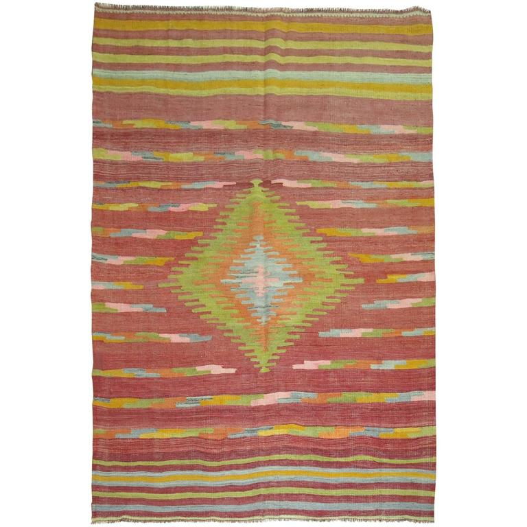 Turkish Kilim Area Size Flat-Weave Rug