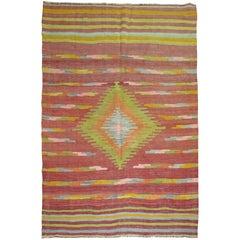Turkish Kilim Area Size Flat-Weave Rug