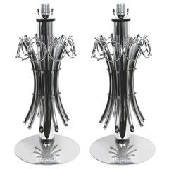 1970s Grand Pair of Italian Vintage Chromed Lamps with Pendant Rings