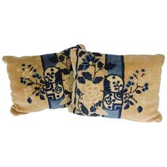 Pair of Antique Chinese Floral Rug Pillows
