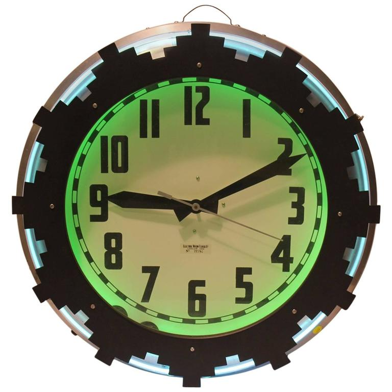 1930s Neon Aztec Clock For Sale