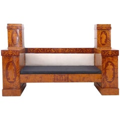 Empire Banquette or Window Seat in Birch with Marquetry Inlays, circa 1800
