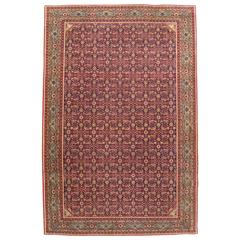 Antique Persian Tehran Small Carpet with Repeating Herati Design on a Navy Field