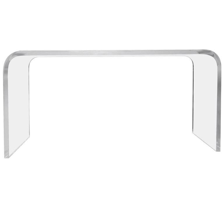Stunning Waterfall Console in Lucite by Amparo Calderón Tápia, Signed