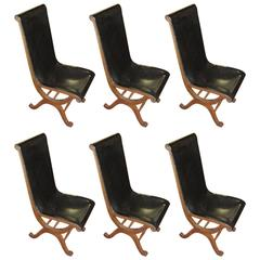 1940s Valenti Set of Six Black Leather Dining Chairs, Spain