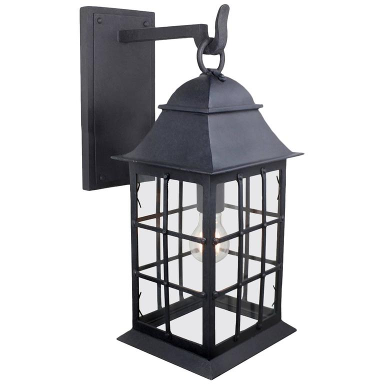 Exterior Wrought Iron Wall Lantern with Nautical Inspirations by Britt Jewett For Sale