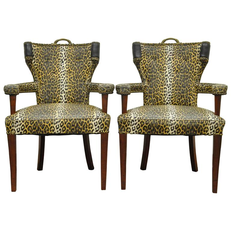 Pair of Dorothy Draper Hollywood Regency Leopard Printed Vinyl Curved Armchairs For Sale