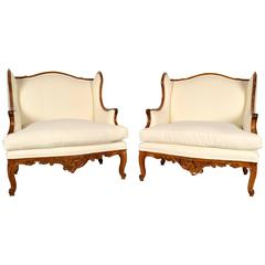 Pair of Early 19th Century Louis XV Bergere Chairs