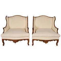 19th Century Wide Seat Louis XVI Bergeres