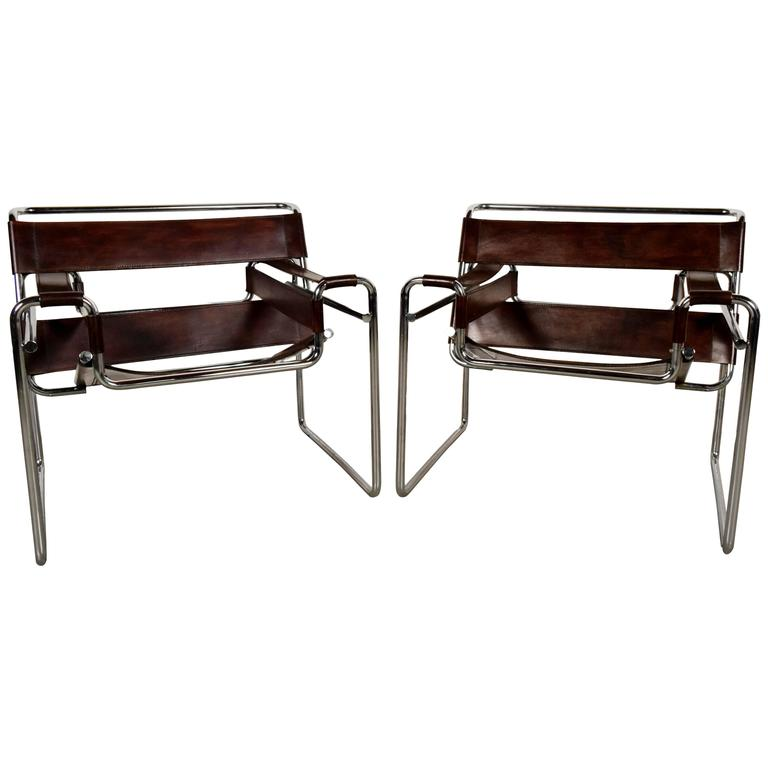 Pair Of Vintage Wassily Lounge Leather Chairs At 1stdibs