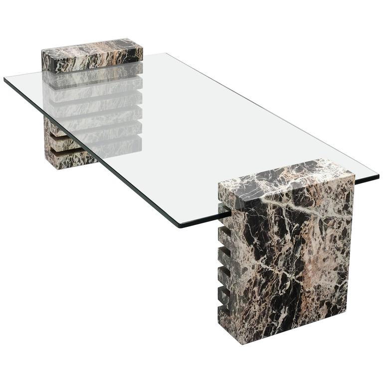 Large Marble And Glass Coffee Table For Sale At 1stdibs