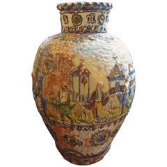 "Unusual Large French Glazed Terra Cotta Urn, 30"" H"