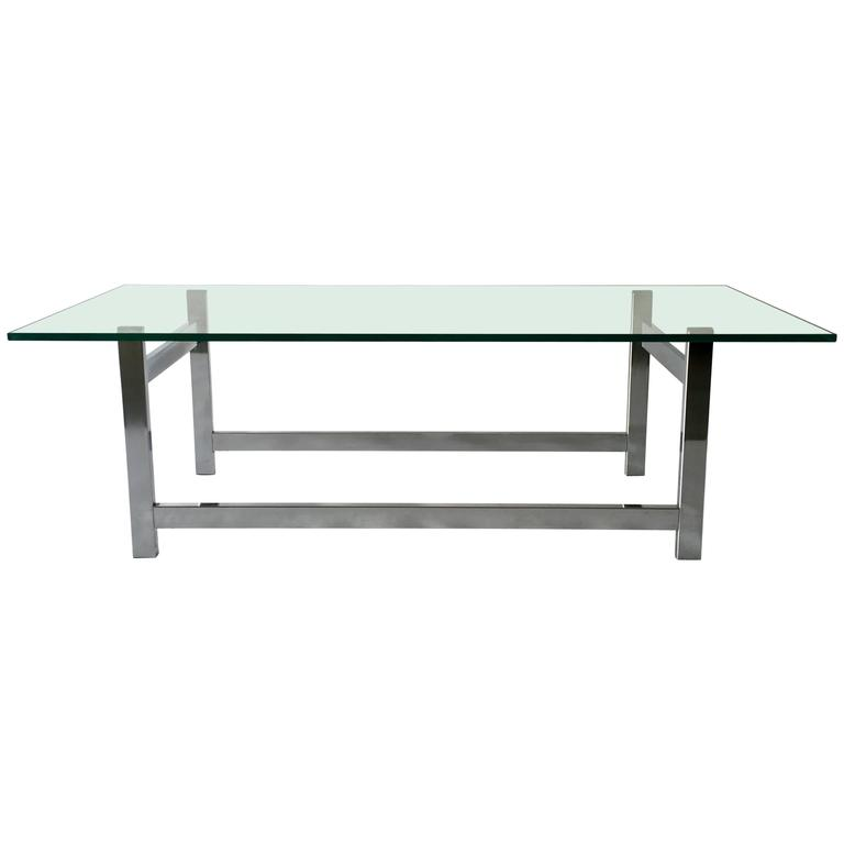 Flat Bar Chrome And Glass Coffee Table For Sale At 1stdibs