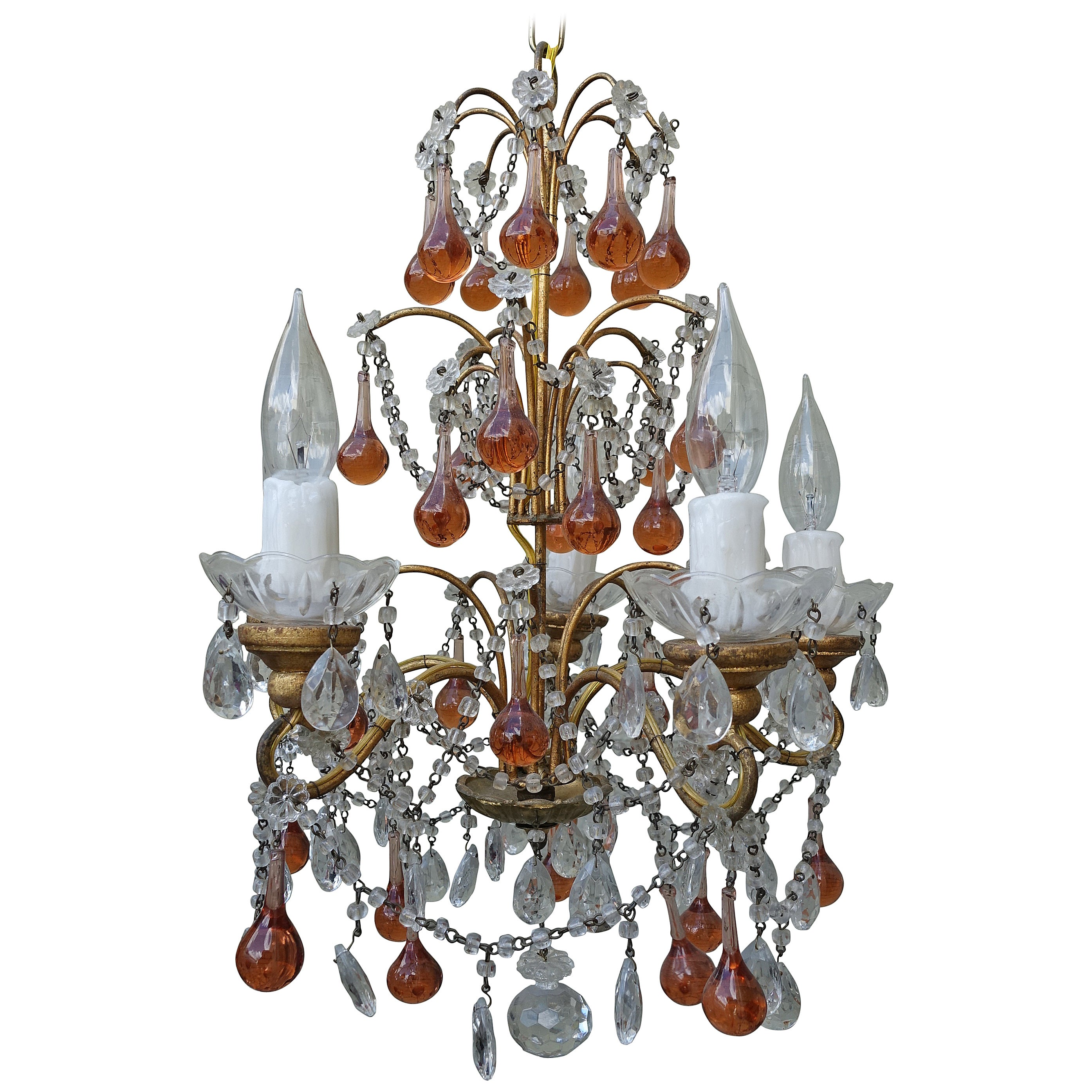 French Crystal Beaded Chandelier w/ Amber Drops