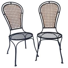 Vintage Pair of Salterini-Esque Iron and Cane High Balloon Back Style Chairs