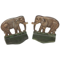 Pair of Original Painted Iron Elephant Bookends