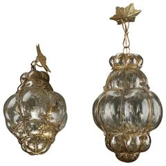 Pair of Italian Cage Art Amber Glass Pendant Lamp by Seugso