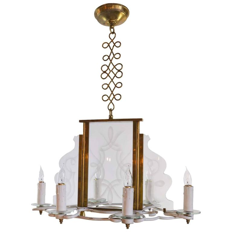Vintage 1960s Six Candle Chandelier with Decorative Etched Glass Panels