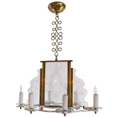 Mid Century Six Candle Chandelier with  Etched Glass Panels