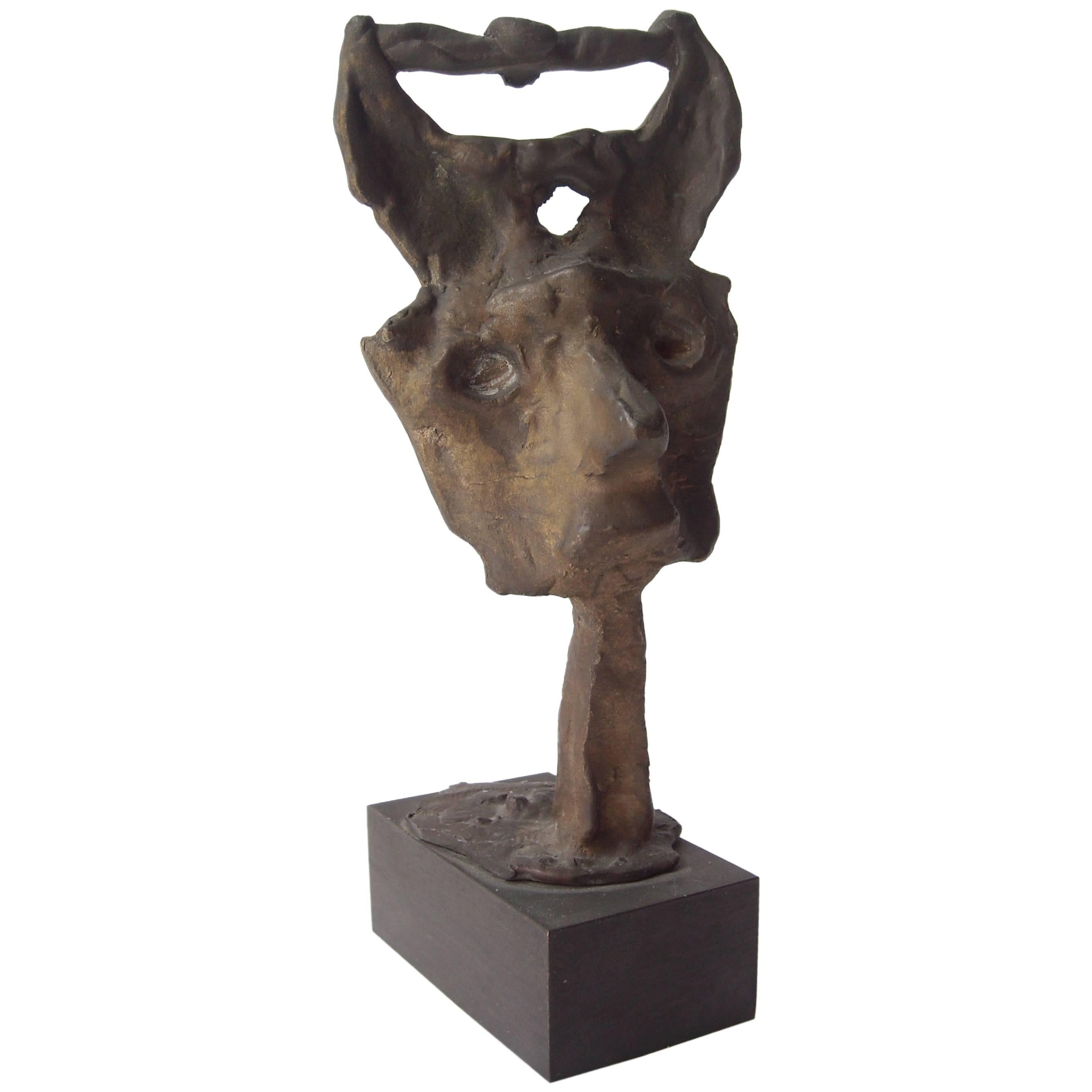 Emerson Woelffer Bonze  Sculpture, Abstract Face, Signed, Dated, Numbered