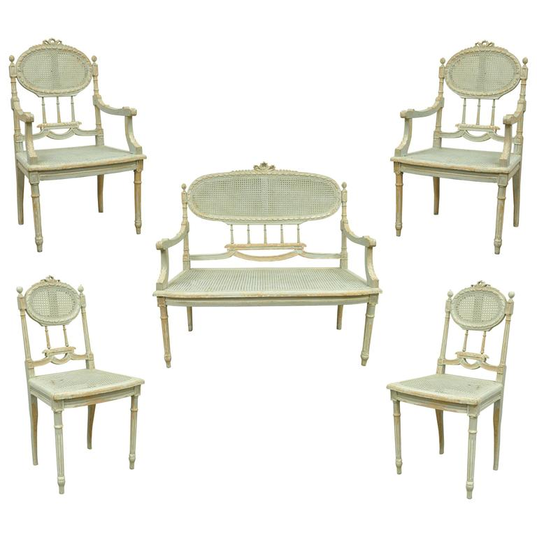 5 Piece French Louis XVI Style Distress Painted Parlor or Salon Suite For Sale