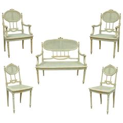 5 Piece French Louis XVI Style Distress Painted Parlor or Salon Suite