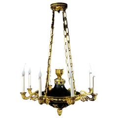 Fine Antique French Empire Neoclassical Gilt and Patina Bronze Chandelier
