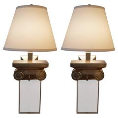 Pair of Italian Capitol Brass and Acrylic Sconces