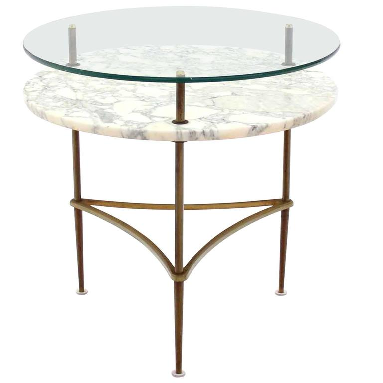 Two tier brass marble and glass top occasional table for for Glass top occasional tables