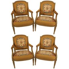 19th Century Set of Four Armchairs with Gobelin