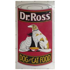 1930s Porcelain Enameled Advertising Sign for Dr. Ross' Dog and Cat Food