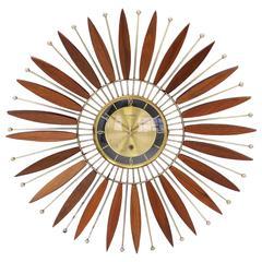Beautiful Walnut Sunburst Mechanical Wind Up Wall Clock