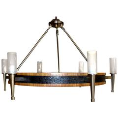 Zebra Wood Ceiling Fixture or Chandelier