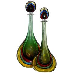Formia Modern Italian Red Blue Yellow and Green Murano Glass Monumental Bottles
