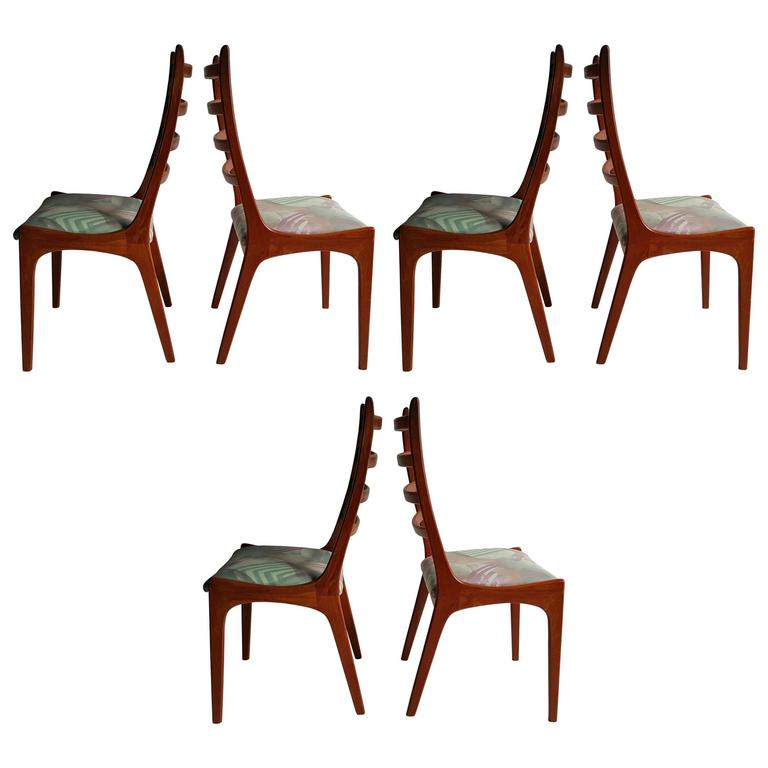 Set Of Six Danish Modern Teak Ladder Back Dining Chairs By Kai Kristiansen 1