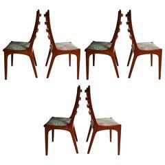 Set of Six Danish Modern Teak Ladder Back Dining Chairs by Kai Kristiansen