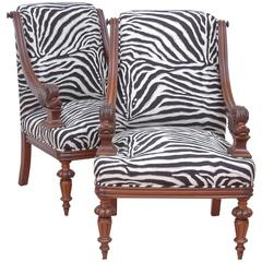 Pair of Upholstered French Napoleon III Bergères with Carved Dolphin circa 1870