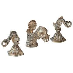 Elegant Sherle Wagner Vintage Dolphin Faucet Set in Silver Finish