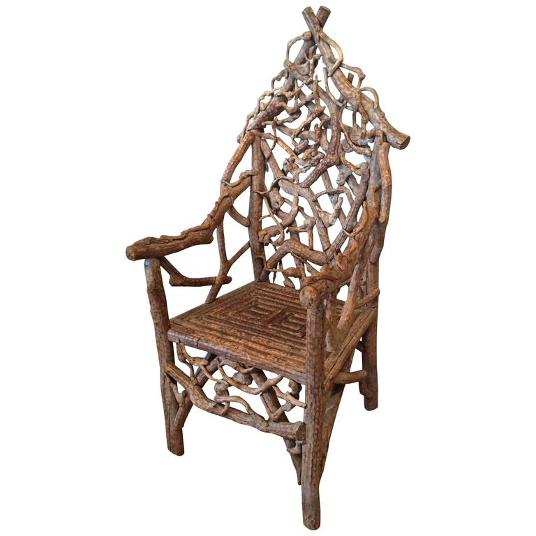 Exceptionnel Extraordinary 19th Century Adirondack Twig Chair For Sale