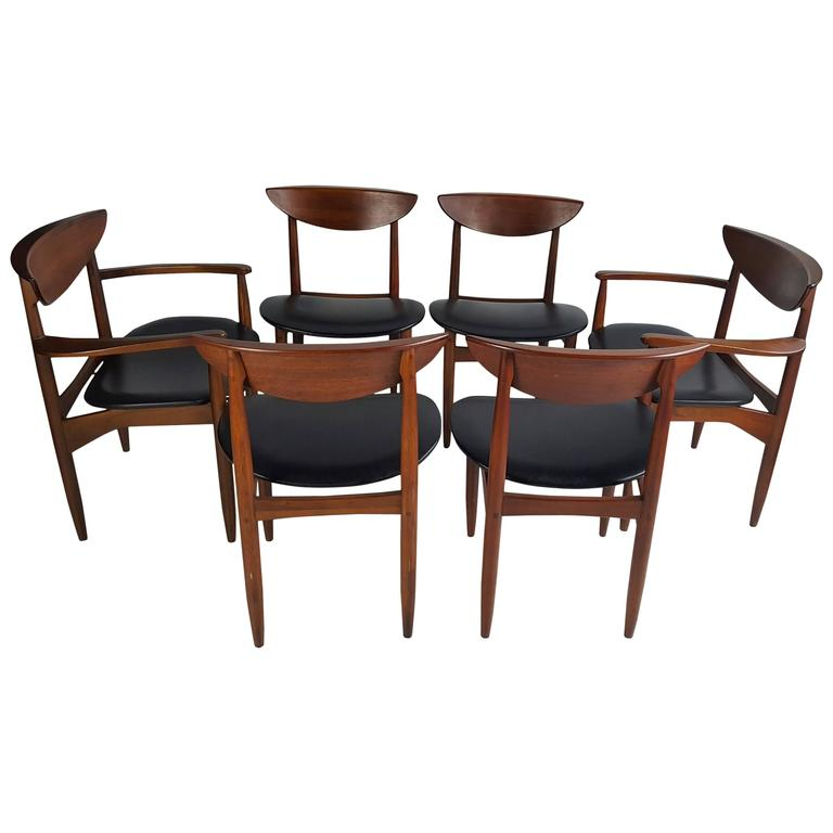 Charming Set Of Six Modernist Dining Chairs Lane Perception 1